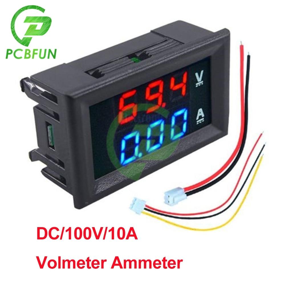 Мини-Вольтметр Амперметр постоянного тока 100 в 10 А, 2 провода, 3 провода, 12 В, 24 В постоянного тока, автомобильный вольтметр, измеритель напряже...