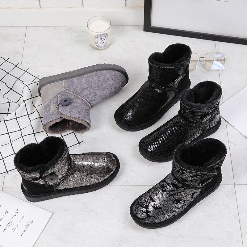 Warm Shoes Buckle Snowboots-Flats Fur Bling Cow-Suede Ankle Female Large-Size Winter