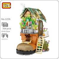 LOZ 1226 foresta cabina scarpiera coniglio animale fiore albero modello 3D fai da te Mini blocchi mattoni giocattolo da costruzione per bambini regalo senza scatola