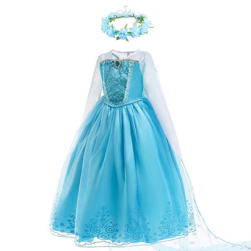 Meninas Elsa Anna Vestido de Princesa Crianças Flor Traje com Luvas Coroa Peruca Elza da Rainha da Neve Vestido de Festa de Aniversário do Dia Das Bruxas