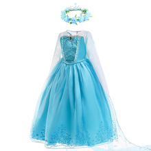 Girls Elsa Anna Princess Dress Kids Flower Costume with Crown Gloves Wig Snow Queen Elza Halloween Birthday Party