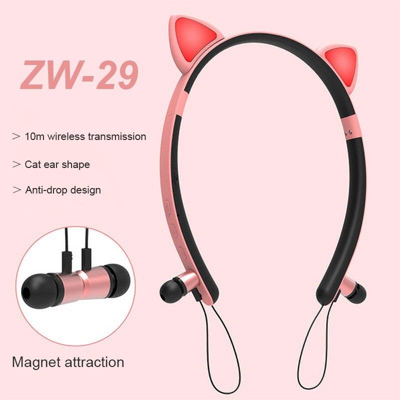 Cute Girl HIFI Stereo Sound Bluetooth 5.0 Earphone Glowing Cat ear Handsfree Headset Ear Phone Sport Running Headphone ZW-29