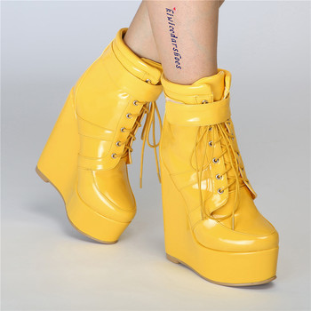 Womens Platform Patent Leather Ankle Boots Sexy Lace Up Wedge Super High Heel 15CM Shoes Nightclub