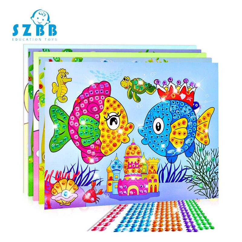 Sz Steam DIY Diamond Sticker Handmade Embroidery Cartoon Animal Diamond Painting For Children Round Diamond Sticker Toys Gifts