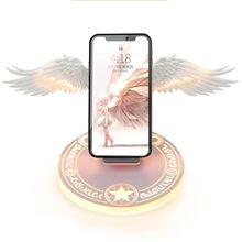 Универсальный светодиодный Qi Беспроводной Зарядка Док станция для 10 Вт с «крыльями ангела» быстро Беспроводной Зарядное устройство для телефона Pro X XR 8 плюс мобильный телефон