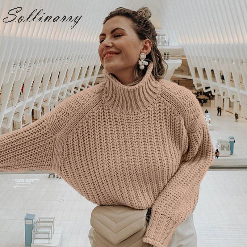 Sweaters Women Tops Jumper Pullovers Knitwear Turtle-Neck Female Khaki Autumn Winter