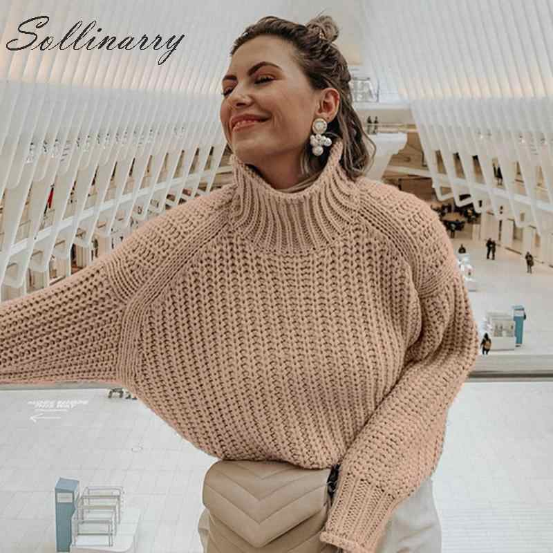 Sollinarry Knitwear Winter Pullovers Sweaters Women Autumn Turtle Neck Loose Sweater Jumper Female Solid Khaki Chic Sweater Tops