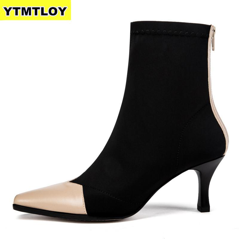 Shoes Woman Short Boots Length Square Mid Heels Toe Flock Ankle Autumn Winter Warm Plush Slip On Snow Black Boots  Botas Mujer