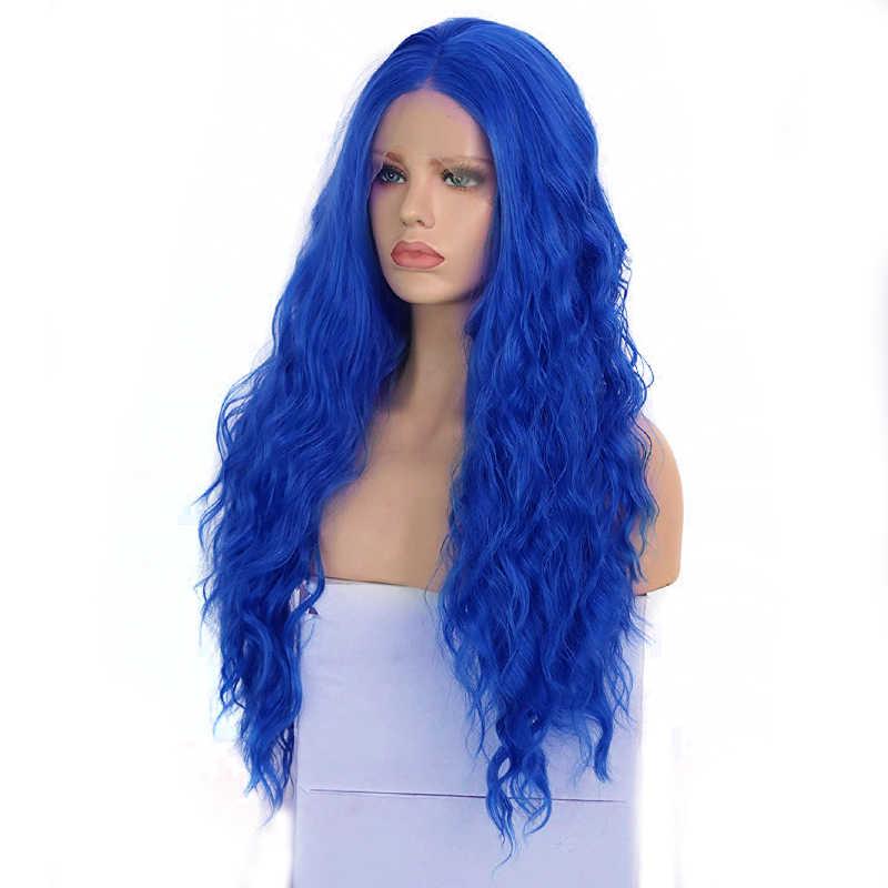 Peluca con malla frontal sintética de pelo largo ondulado con agua para mujeres negras, pelucas con minimechones resistentes al calor, de carisma