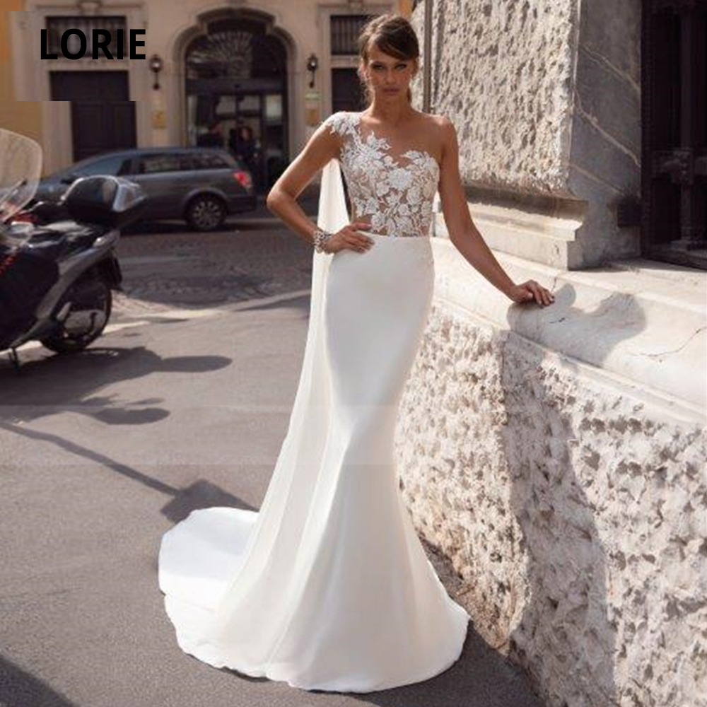 LORIE One Shoulder Elegant Lace Wedding Dresses Mermaid 2020 Chiffon Bridal Gowns Sleeveless Vestido De Noiva Plus Size
