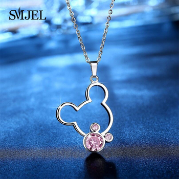 SMJEL Pink Crystal Animal Necklace For Girls Cute Statement Necklaces Women Collier Femme Jewelry Party Gift