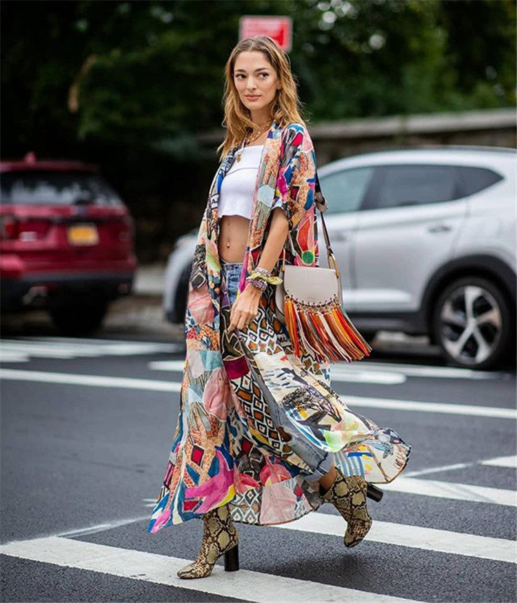 Europe And America Hot Selling Cotton Colorful Irregular Printed Beach Skirt Holiday Cardigan Bikini Outer Blouse