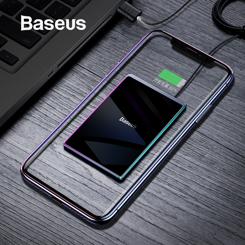 Baseus Ultra thin Wireless Charger For iPhone Xs Max XR 8 Portable 15W Fast Wireless Charging Pad for Huawei Mate 20 Pro P30 Pro-in Wireless Chargers from Cellphones & Telecommunications