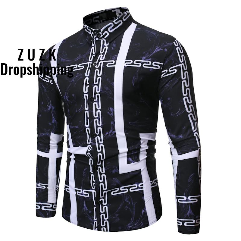 ZUZK New Fashion Simple Design Casual Shirt  Men's Long Sleeve Joker Pattern Shirt