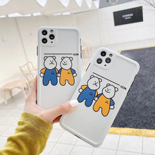 цена на INS Korea cute cartoon funny smiley bear brother phone case for iPhone 11 pro MAX Xs MAX Xr X 7 8 plus simple Cover