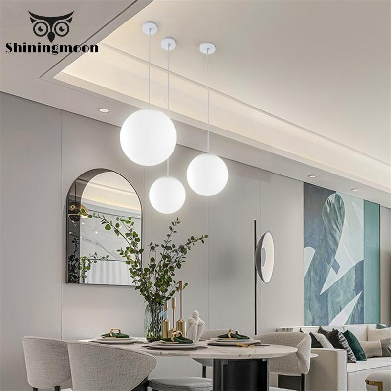 Modern Glass LED Pendant Lights Globe White Round Pendant Lamp Light Fixtures Living Room Kitchen Art Hanglamp Lustre Luminaria