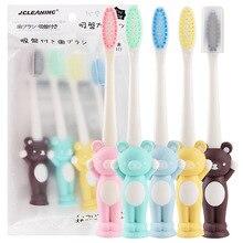 4 установленная детская зубная щетка творческий японский стиль противоскользящая ручка мягкая Щетинная зубная щетка Детская обучающая присоска вертикальная