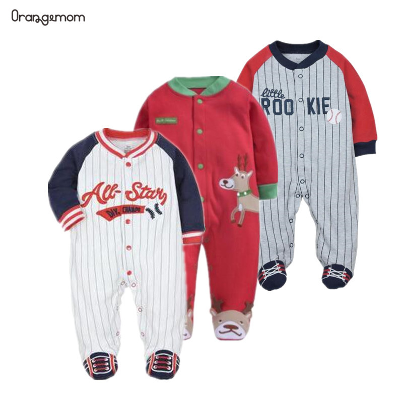Christmas Baby Clothing 100% Cotton Rompers Pajamas Baby Long Sleeved Romper Sport Baseball Clothes Baby Juimpsuit 0-12m Clothes
