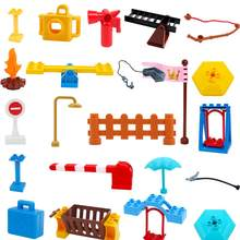 City House build parts playmobil original Big Building Blocks Fence Particles Seesaw Fire Extinguisher Kids DIY Toys Sets Gift(China)