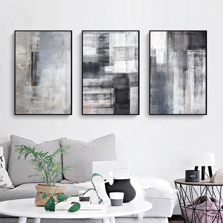 Абстрактная черно-белая серая Картина на холсте настенное искусство картина плакат и печать домашний декор для гостиной без рамки