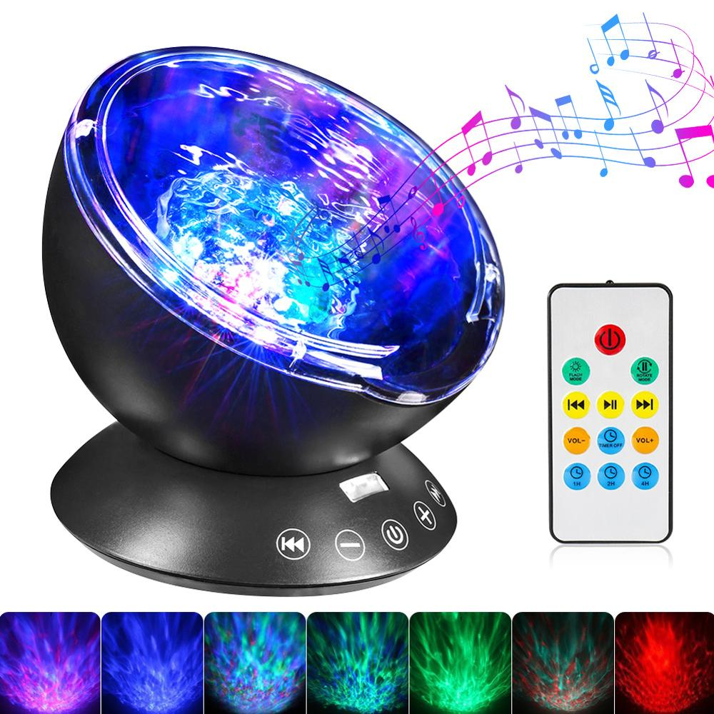 HobbyLane 7 Colors LED Night Light Sky Remote Control Ocean Wave Projector With Mini Music Baby Kids Sleeping Night Light