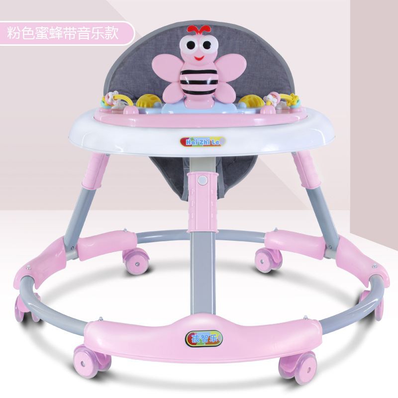 Children's Walking Car With Rollover-proof Foldable Belt Music Multifunctional Walker