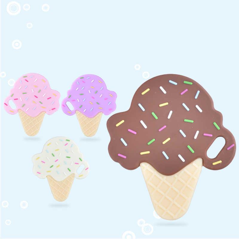 ซิลิโคนสร้อยคอ Chewable Ice Cream Teether ลูกปัดอาหารเด็กซิลิโคนเกรดเครื่องแต่งกายเครื่องประดับจี้สำหรับ Pacifier คลิปโซ่
