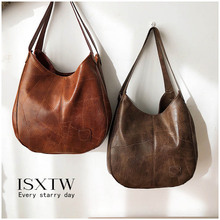 ISXTW Retro Soft Leather Version Of The Wild Tote Bag Literary Simple Shoulder Bag Multi-layer Casual Ladies Messenger Bag / B5 недорого