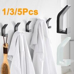 Gancho duplo preto branco impermeável toalha gancho para banheiro auto-adesivo robe casaco roupas ganchos para acessórios de cozinha quarto