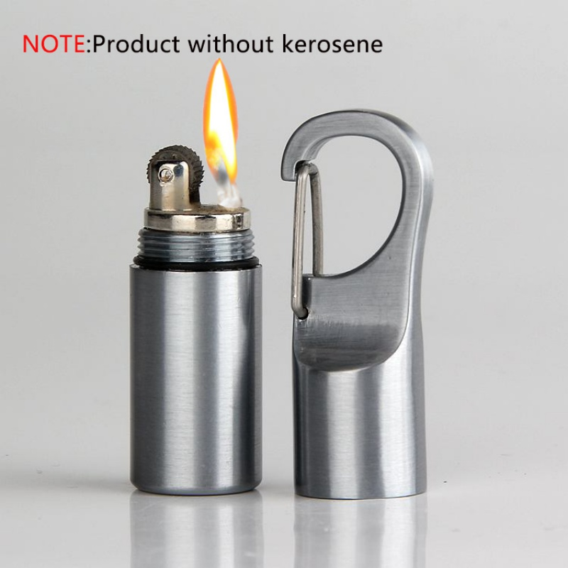 Mini Compact Kerosene Lighter Capsule Gasoline Lighter Inflated Key Chain Portable Lighter With Buckle Outdoor Tools