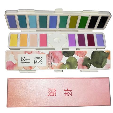 nova 18 38 58 cores dobra solida conjunto com agua pincel aquarela tinta aquarela pigmento