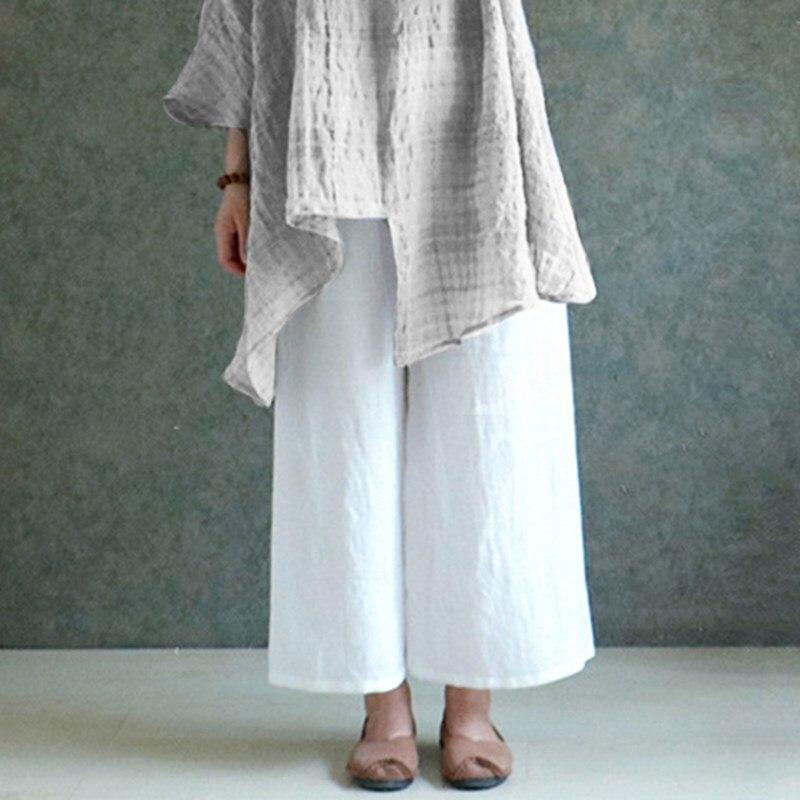 2020 Women Trousers Spring Summer Casual Solid Loose Wide Leg Cotton Linen Long Pants White Black Plus Sizes S-5XL