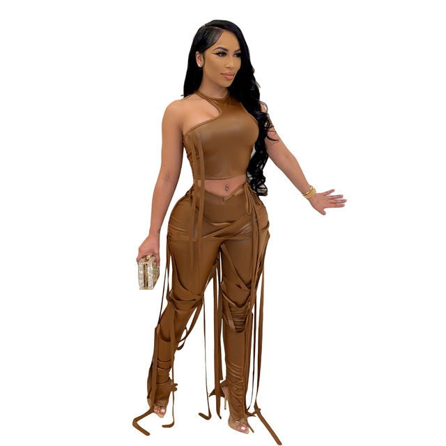 Adogirl Pu Two Piece Set Women Sexy Ribbons Cut Out Slim Crop Top+Chic Tight Pant High Streetwear Casual Night Club Outfits 5