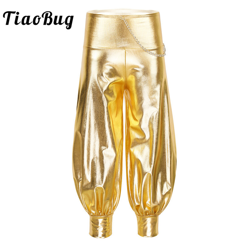 Kids Girls Shiny Metallic Elastic High Waist Chain Loose Harem Pants Hip Hop Trousers Performance Jazz Dance Costume Streetwear