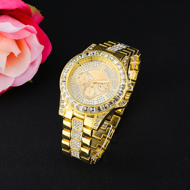 Iced Out Bling Watches Luxury Quartz Wrist Watches Mens Date With Micropave CZ Alloy Watch For Women Men Hip Hop Jewelry
