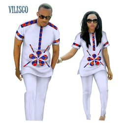Summer African Print Top and Pants Sets for Couple Clothing Bazin Riche Sweet Flower Patter 2 Pieces Lover Couples Clothes WYQ84