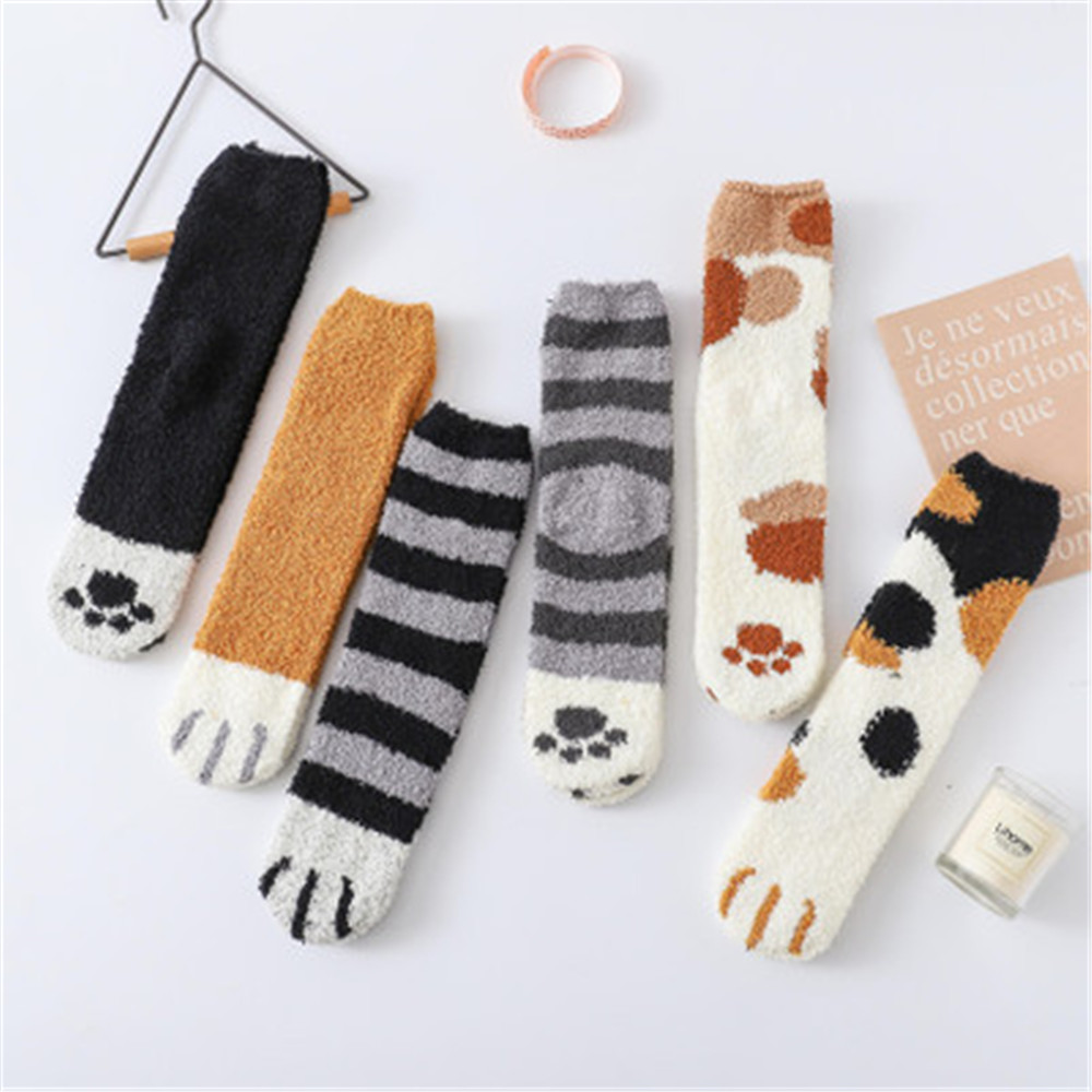 Fuzzy Warm Slipper Socks Women Cartoon Cat Claws Super Soft Coral Velvet Microfiber Cozy Thickening Sleeping Socks Autumn Winter