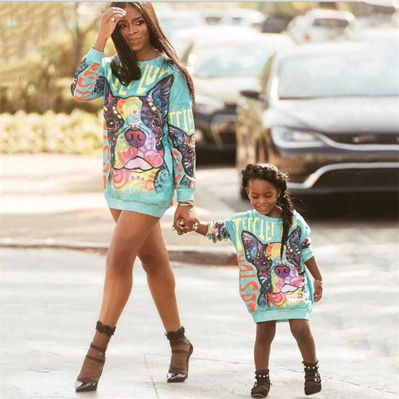 Платья для мамы и дочки; Одинаковая одежда для семьи; Милое платье с рисунком собаки из мультфильма для девочек; Одежда «Мама и я»; Платье-футболка