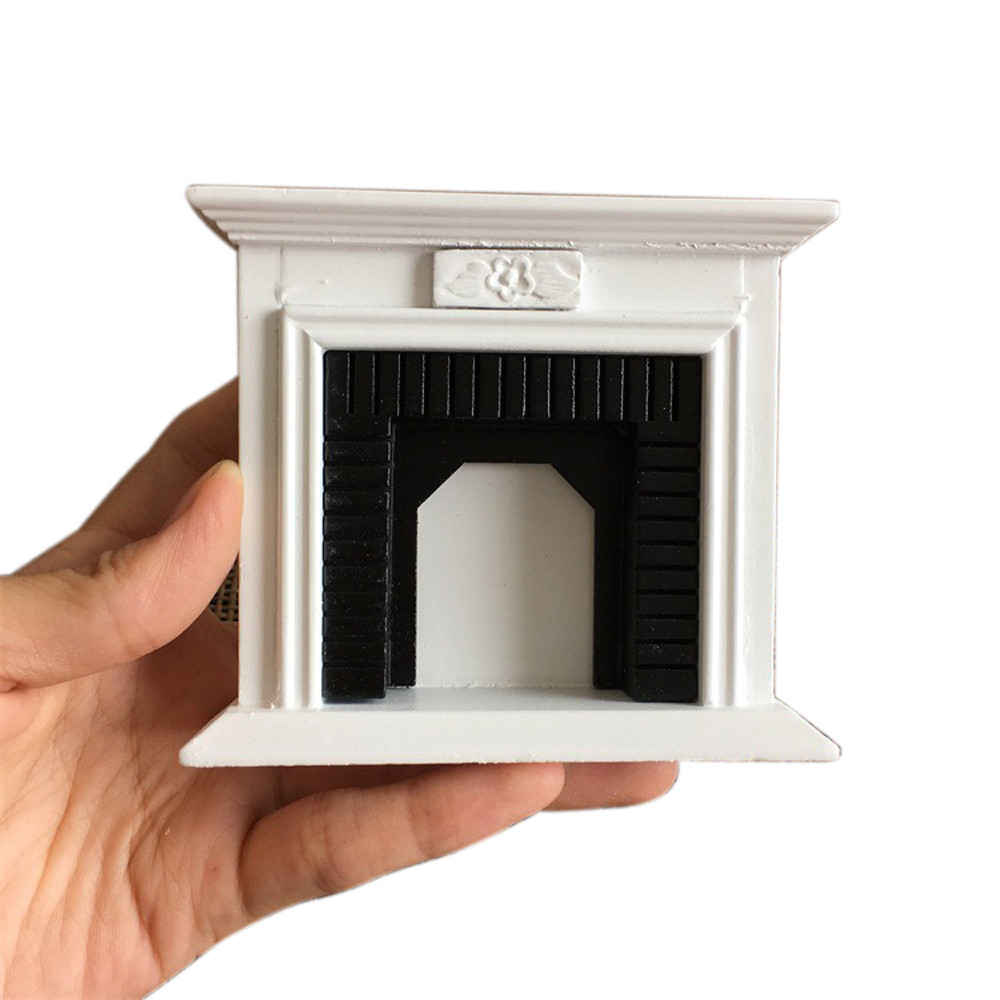 Mini White Wood Fireplace Furniture Modeling Toy for 1:12 Doll House