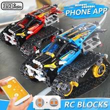 Моторная техника функция питания RC Гусеничный трюк гонщик строительные блоки подходят Legoing Creator пульт дистанционного управления автомобиля кирпичи 42065 игрушки