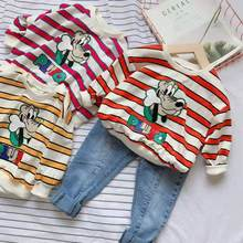 2019 Autumn Boys and Girls Striped Long-sleeved Casual Round Neck Cartoon Sweater 90-130cm(China)
