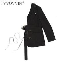 TVVOVVIN [] Новинка, женская одежда с v-образным вырезом, половина части, на одно плечо, с одним рукавом, с поясом, с поясом, куртка J824
