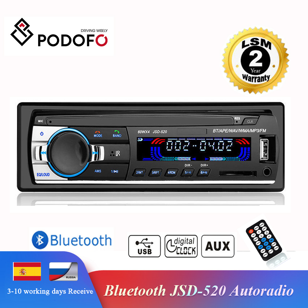 Podofo Autoradio JSD 520 12V Car Radio Bluetooth 1 din Stereo radios AUX IN FM/USB/Receiver MP3 Multimedia Player Car Audio|Car Radios|   - AliExpress