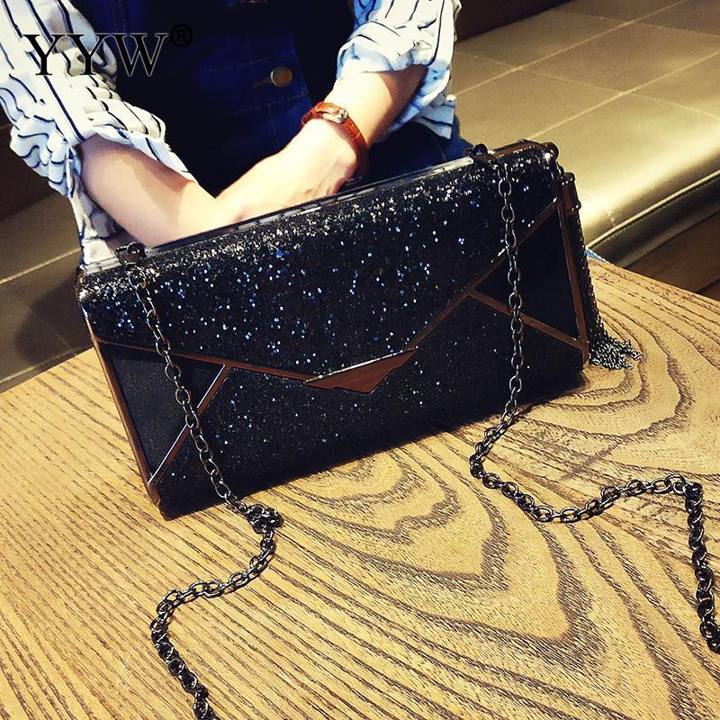 Black Sparkling Tassel Clutch Purse Elegant Glitter Evening Bags Bling Evening Handbag For Dance Wedding Party Prom Bride