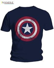 2019 Fashion Men T-Shirts Captain America Distressed Shield Logo Marvel Comics Adult Shirt M-2XL Cotton