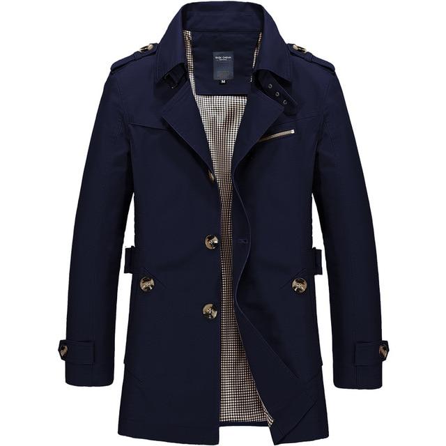 New Mens Business Jacket 2021 Fashion Autumn Men Long Cotton Windbreaker Jackets Overcoat Male Casual Winter Trench Outwear Coat 4