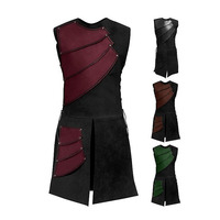 European Middle Ages Medieval Knight Vest Jacket Stage Wear Drama Play Performance Man Sleeveless Coat Halloween Costumes