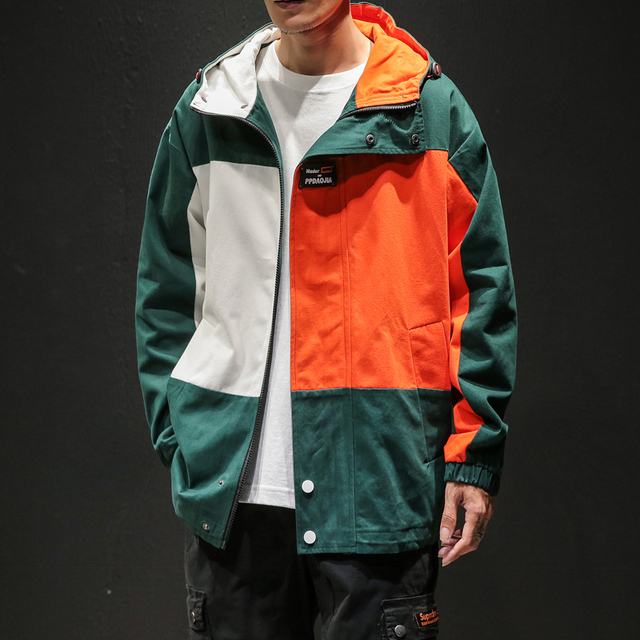 Designer Patchwork Hooded Jacket for Men 2020 Autumn Fashion Clothing Plus Size Hiking Outerwear Harajuku Streetwear Windbreaker 1
