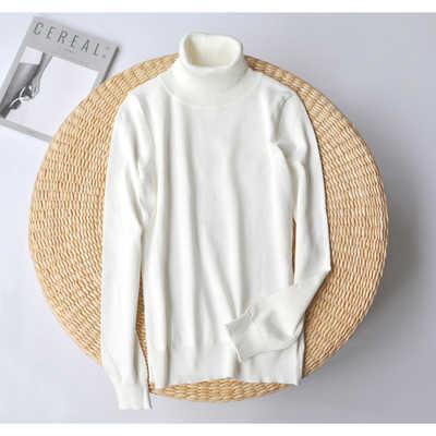 Осенний тонкий свитер с высоким воротом для женщин, мягкие женские пуловеры, черные женские белые свитера, Женский вязаный джемпер, топы