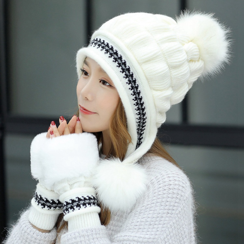 Warm Women Cap Gloves Set Faux Fur Winter Hat Gloves Sets Fashion Windproof Ear Flap Beanie Bonnet